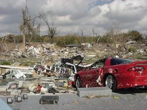 F3 tornado damage near Angel Mounds