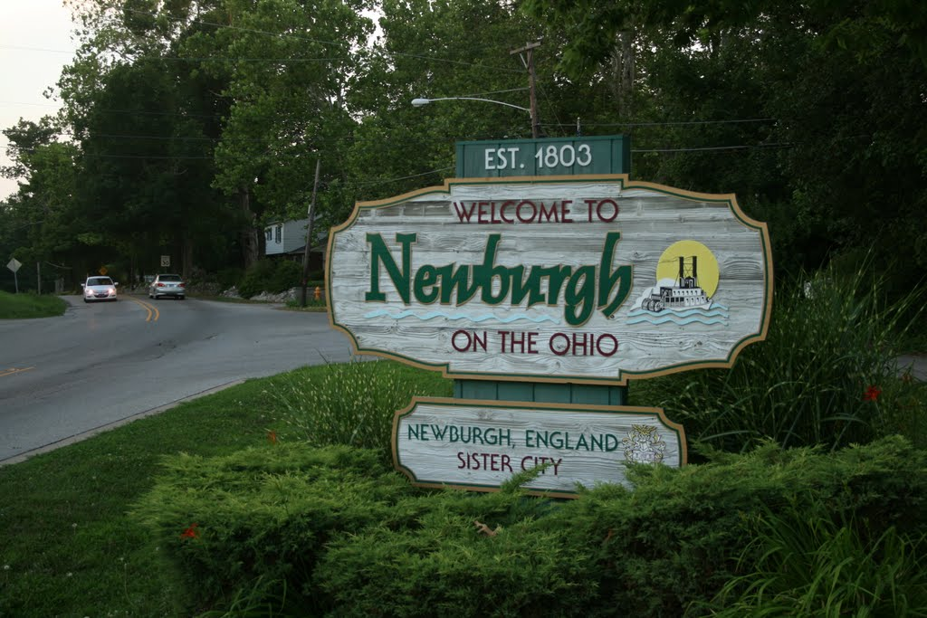 Newburgh welcome sign near the old Plank Road toll house