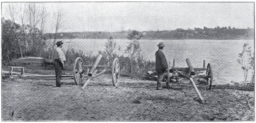 """Stove-pipe Battery at Capture of Newburg."" Source: William J. Davis, ed., The Partisan Rangers of the Confederate States Army: Memoirs of General Adam R. Johnson (Louisville, 1904), p. 109."